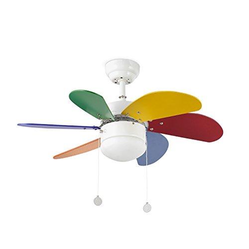 Faro Barcelona 33179 - PALAO Ventilador de techo con luz 6 palas de MDF multicolor, Diámetro 760mm, Accionado por...
