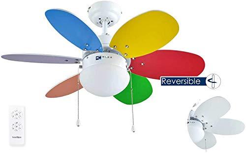 Bastilipo Caleta RC-Ventilador de Techo con Mando a distancia-60W y 75cm de diametro-E27 60W, Multicolor/Blanco, 75 cm