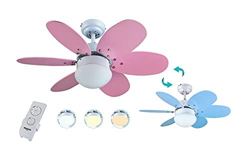 Bastilipo Aguadulce RC-Ventilador de Techo con Mando a distancia-60W y 75cm diametro-LUZ LED, Rosa/Azul, 75 cm