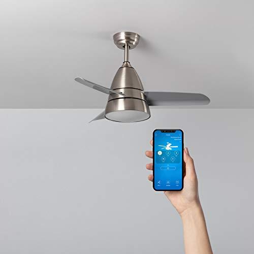TECHBREY Ventilador de Techo Smart WiFi Industrial Plata LED CCT Seleccionable Seleccionable (Cálido-Neutro-Frío)