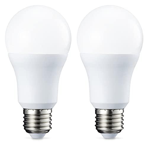 Amazon Basics Bombilla LED Esférica E27, 10.5W (equivalente a 75W), Blanco Cálido - 2 unidades