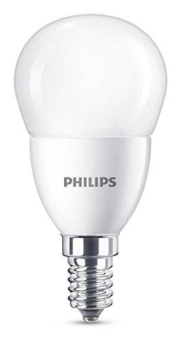 Philips bombilla LED esférica mate casquillo fino E14, 7 W equivalentes a 60 W en incandescencia, 806 lúmenes, luz...
