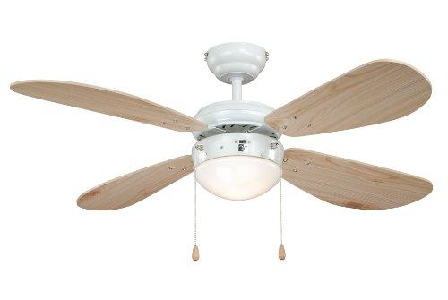 AireRyder Classic Ventilador de techo con iluminación, carcasa blanco, aspas color pino, 105 cm