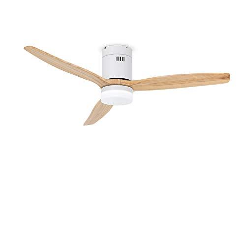 IKOHS LIGHTCALM White - Ventilador de Techo con Luz, Silencioso, 3 Aspas, Mando a Distancia, 132 cm de Diámetro, 6...
