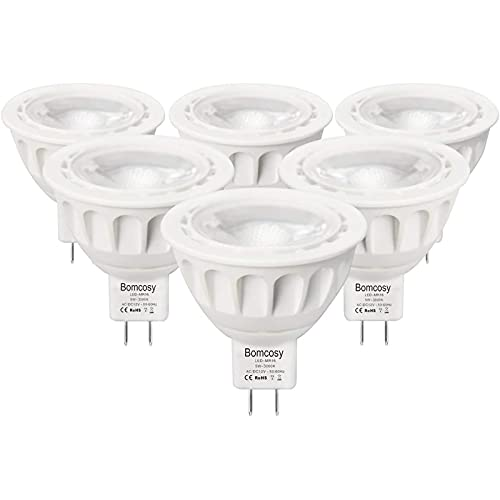 Bombillas LED GU5.3, Bomcosy MR16 LED 5W Lámparas Halógenas Equivalentes a 50W, LED 12v MR16, Blanco Cálido 3000K,...