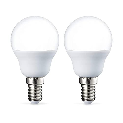 Amazon Basics Bombilla LED E14, P45, 5.5W (equivalente a 40W), Blanco Cálido- 2 unidades