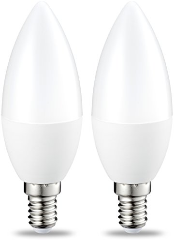 Amazon Basics Bombilla LED E14, 5.5W (equivalente a 40W), Blanco Cálido- 2 unidades