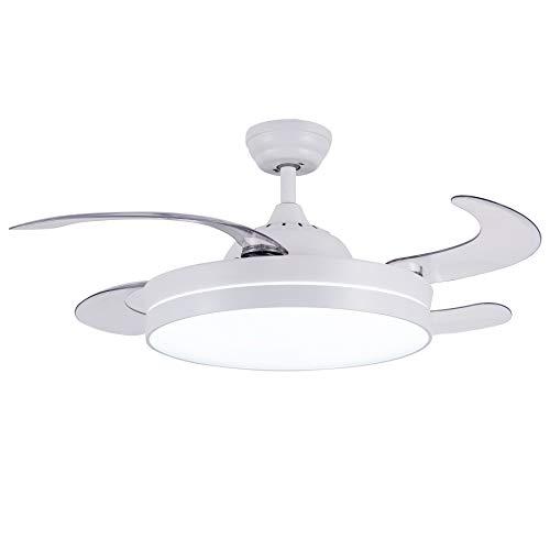 CJOY Ventilador de Techo con Luz Regulable, Ventilador de Techo con Iluminación LED Mando a Distancia Blanco 42...