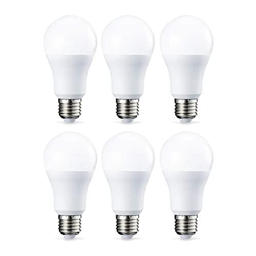 Amazon Basics Bombilla LED Esférica E27, 10.5W (equivalente a 75W), Blanco Cálido - 6 unidades