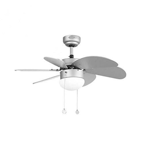 FARO BARCELONA 33186 - PALAO Ventilador de Techo con luz (Bombilla no incluida), 40W, Acero, Palas de Madera MDF y...