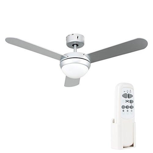 MiniSun - Moderno Ventilador de Techo con Luz LED - Silencioso con Mando a Distancia - 3 Aspas en Gris Plateado - 106cm...