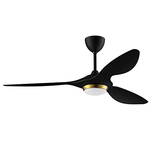Reiga Ventilador de techo inteligente negro dorado de 132 cm con aplicación de luz LED regulable, control remoto, aspas...