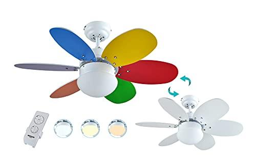 Bastilipo Caleta RC-Ventilador de Techo con Mando a distancia-60W y 75cm de diametro-Luz LED incorporada,...