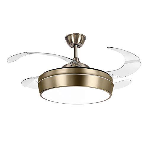 TODOLAMPARA - Ventilador de techo con luz LED modelo SIMUN color cuero/bronce con aspas retráctiles transparentes,...