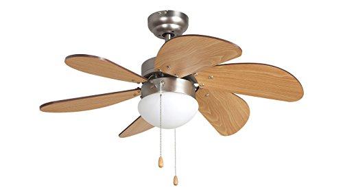 Orbegozo CP 15075 N - Ventilador de techo con luz, 3 velocidades, 6 aspas de madera, sistema de ventilación reversible,...
