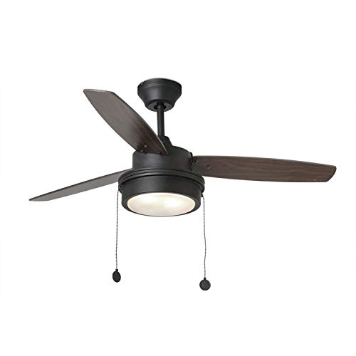 FARO BARCELONA 33723 - Komodo Ventilador de Techo con luz Negro [Clase de eficiencia energética A+] (Bombilla incluida)
