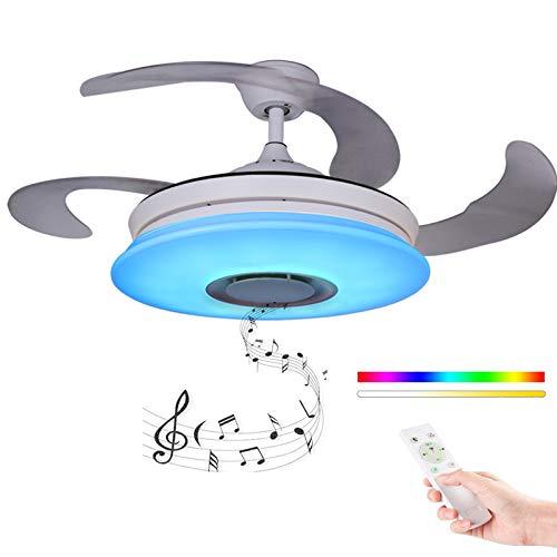 Moderno Ventilador de techo con luz con Mando a distancia con altavoz Bluetooth, HOREVO 36W Lámpara de techo teléfono...