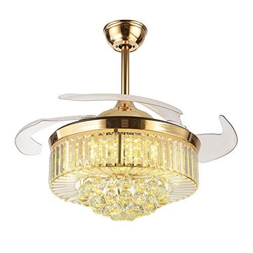 OUKANING Ventiladores de Techo retráctiles de Cristal con Forma de Abanico Moderno con luz de 3 Color y Ventilador de...