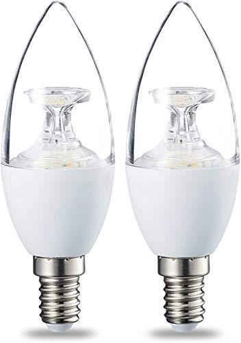 Amazon Basics Bombilla LED E14, 6W (equivalente a 40W), Blanco Cálido, Regulable- 2 unidades