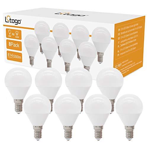 Litogo Bombilla LED E14, G45 6W(equivalente a 50W) Bombillas Bajo Consumo, 550 LM Bombillas LED Casquillo Fino, Luz...