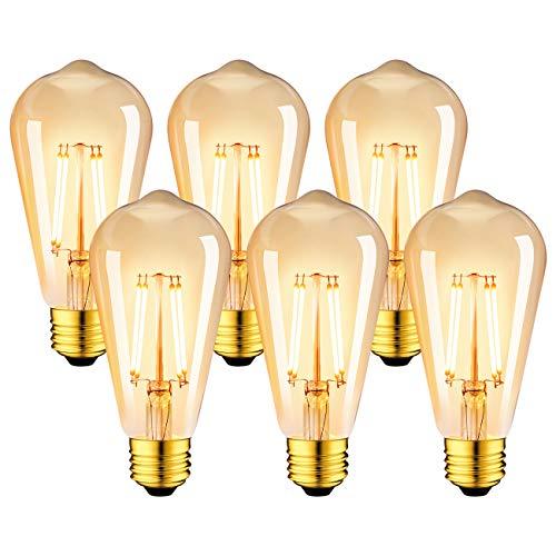 LVWIT Bombillas Marrón ST64 de Filamento LED E27 (Casquillo Gordo) - 8W Equivalente a 60W, 806 lúmenes, Color Blanco...