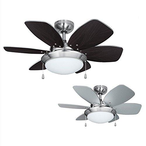 MiniSun - Moderno Ventilador de Techo con Luz LED/ 76cm - Silencioso con 6 Aspas Reversibles en Plata y Madera -...