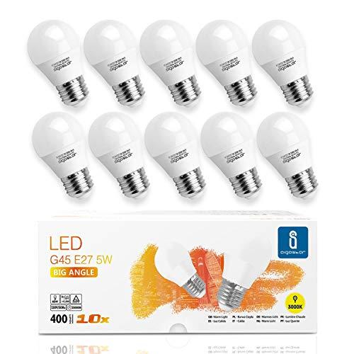 Aigostar -10 x E27 Bombilla LED G45, Casquillo gordo 5W, Bajo consumo, 400lm, Luz calida 3000K, Ahorro de energía, no...