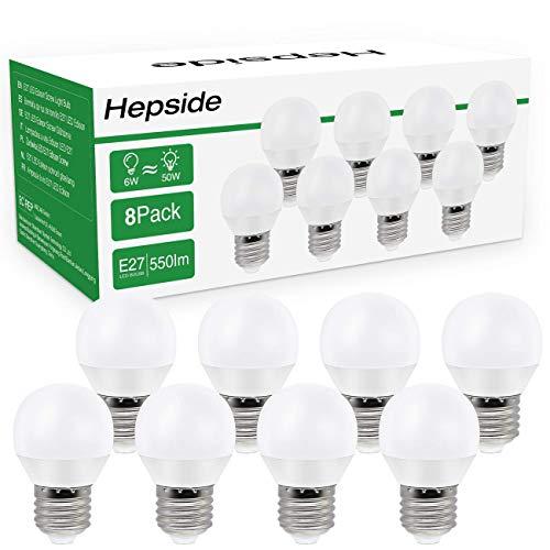 Hepside Bombilla LED E27,6W(equivalente a 50W) Bombillas Bajo Consumo, 550 LM Bombillas LED Casquillo Fino, Luz Cálida...