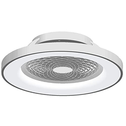 Mantra Iluminación. Modelo TIBET. Ventilador y plafón de techo de 65 cm de diámetro en color plata. Fuente de luz LED...