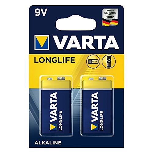 Pila de 9V Varta Longlife 6LR61 (paquete de 2 unidades), pilas alcalinas E-Block - Ideal para los detectores de...